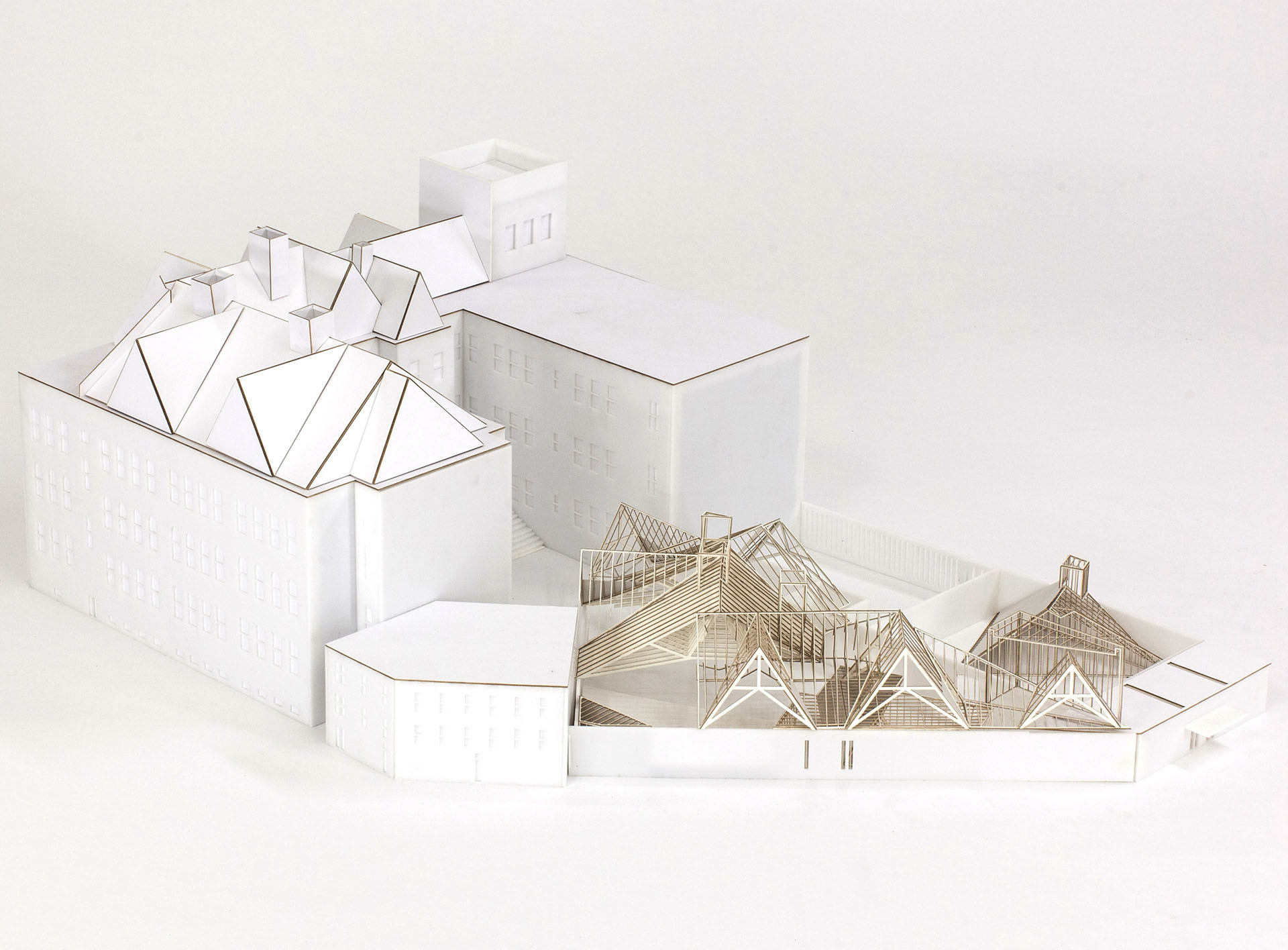 Photograph of an architectural site model of MoMA PS1 Roof Deck proposal