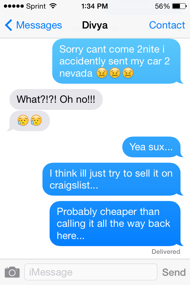 A phone screen displaying a text message conversation about a smart car.